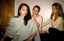 women in a massage circle with martha eddy